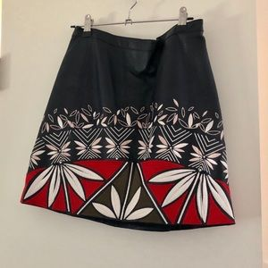 Tory Burch Embroidered Leather Skirt